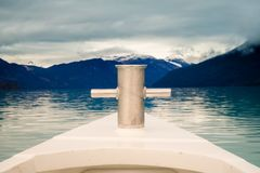 Sailing across lake Argentino, detail of the the bow royalty free stock image