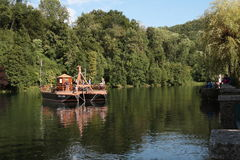 Sailing on the Adda River. Within the Adda Nord Park, on board of `Addarella`, with a capacity of 48 people, a boat with silent and ecological electric motors Royalty Free Stock Images