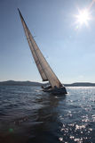Sailing on the Adriatic Sea. Modern yacht royalty free stock images