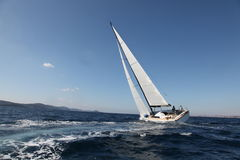 Sailing on the Adriatic Sea. Modern yacht royalty free stock photography