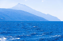 Sailing on Aegean along Macedonian coast, Chalkidiki Stock Photo