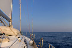 Sailing in the Aegean sea, just before dusk Stock Photography
