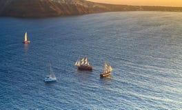 Sailing in the Aegean Sea off the coast of Santorini Royalty Free Stock Image