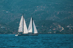 Sailing at the Aegean Sea. Sport. Stock Photos