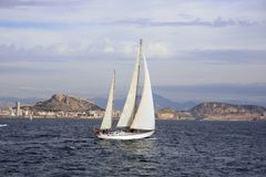 Sailing in Alicante Bay Royalty Free Stock Photos