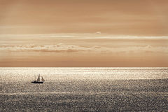 Sailing alone III. A sailboat sailing by sea on a clear and sunny day Royalty Free Stock Photos