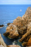 Sailing along the coast of Brittany, France Stock Images