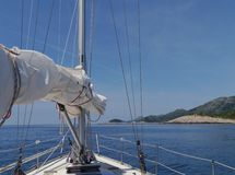 Sailing along the north coast of the Mljet  in Croatia Royalty Free Stock Photography