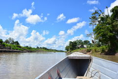 Sailing on the Amazon river, in Amazon jungle, Peru. The Amazon river near to Iquitos, in the Amazon jungle of Peru royalty free stock photos