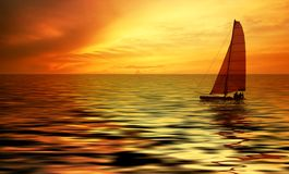 Sailing And Sunset Stock Image