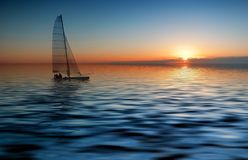 Sailing And Sunset Stock Photography