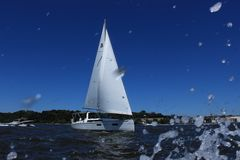 Sailing on Annapolis bay. What a great weather to sailing on this beautiful place in Annapolis royalty free stock photos