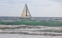 Sailboat Sailing the Aqua Waves Stock Photography