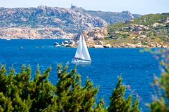 Isola dei Gabbiani bay, Palau La Maddalena Sardinia Italy. Sailing around the Isola dei Gabbiani bay, Palau, La Maddalena, Sardinia Italy Stock Images