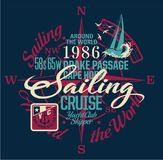 Sailing around the world yacht club. Vector print for boy wear with embroidery badge Stock Photos