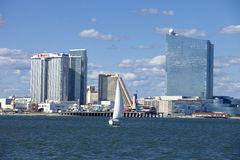 Sailing in Atlantic City with The Revel, Showboat and Taj Mahal Casino Royalty Free Stock Photos