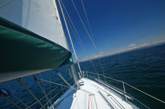 Sailing away. Sailing in the Puget Sound of Washington State Stock Photos