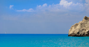 Sailing away in  blue sea Stock Image