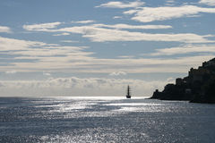 Sailing away. Luxury sailboat off the amalfi coast, italy stock photos