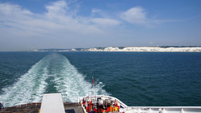 Sailing away of the white cliffs of Dover Royalty Free Stock Image