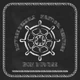 Sailing badge with ship wheel, rope border Royalty Free Stock Image
