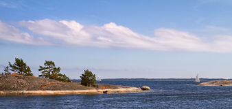 Sailing in the Baltic sea in summer. Stock Photography