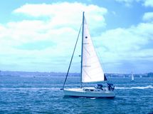 Sailing on the Bay. A Gorgeous blue day for sailing on San Diego Bay Stock Image