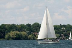 Sailing On The Bay. A nice day for sailing on the bay Royalty Free Stock Photos