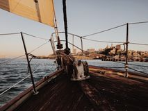 Sailing the Bay. Front of a sailboat with San Francisco skyline in the Stock Photography