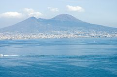 Sailing in the Bay of Naples. With Mount Vesuvius behind, Italy stock image