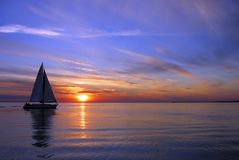 Sailing on a beautiful night. There was calm and smooth wind blowing Royalty Free Stock Photo