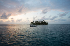 Sailing with beautiful sunset near paradise island, San Blas Stock Image