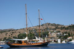 Sailing Beauty. An old Beauty in Gumusluk Royalty Free Stock Photography