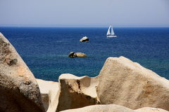 Sailing in the blue. Sailing in the beautiful waters of mediterranean sea Royalty Free Stock Photo