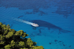 Sailing in the blue Ionian sea Royalty Free Stock Image