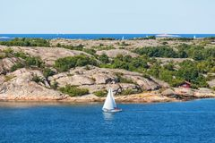 Sailing boas on the archipelag Stock Images