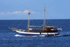 Sailing boat. Old huge sailing boat at blue sea Royalty Free Stock Photography
