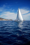 Sailing boat. White sailing boat outside Athens, Greece Royalty Free Stock Image