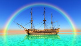 Sailing boat. The sailing boat which goes on a voyage Stock Photo