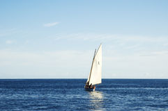 Sailing boat 2. Sailing boat in open sea Royalty Free Stock Photos