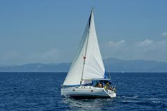 Sailing boat. Rented sailing boat in the Ionian Sea, near Corfu Island Royalty Free Stock Photography