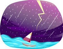 Sailing boat. Illustration of sailing boat on heavy rain Royalty Free Stock Images