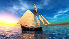 Sailing boat. The sailing boat which goes on a voyage Royalty Free Stock Image