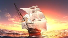 Sailing boat. Horizon and the sailing boat Stock Images