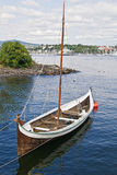 The sailing boat. The wooden rowing and sailing boat Stock Photography