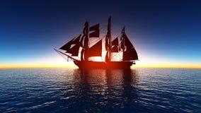 Sailing boat. The sailing boat and horizon Royalty Free Stock Photography