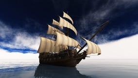 Sailing boat. Horizon and the sailing boat Stock Photos