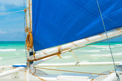 Sailing boat. Detail of a traditional paraw sailing boats on white beach on boracay island, Philippines Stock Photos