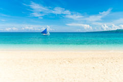 Sailing boat. Tropical white beach with a sailing boat at the horizon Stock Photography