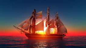 Sailing boat. Horizon and the sailing boat Royalty Free Stock Images